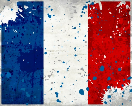 Grunge France flag with stains - flag series photo