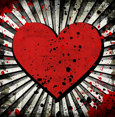 grunge heart with abstract stains photo