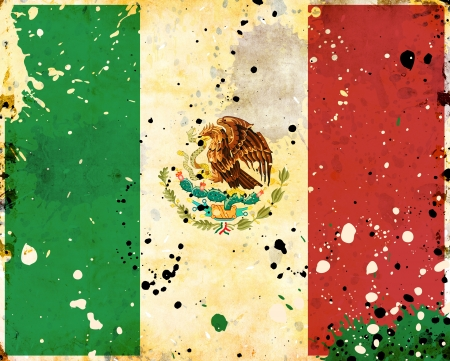 Grunge Mexico flag with stains - flag series Stock Photo