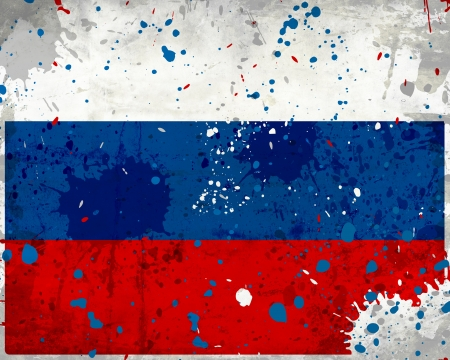Grunge Russia flag with stains - flag series photo