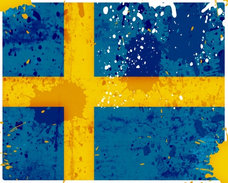 Grunge Sweden flag with stains - flag series photo