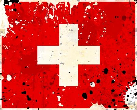 Grunge Switzerland flag with stains - flag series photo