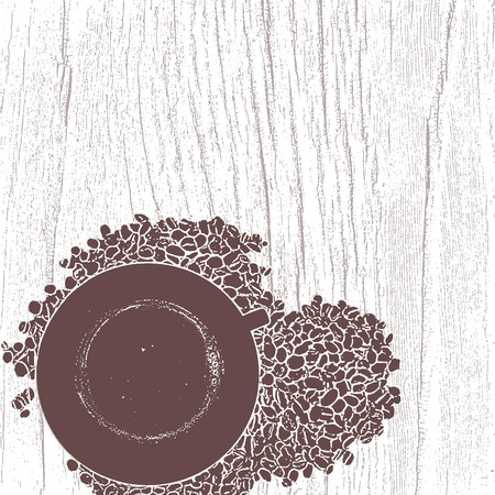 sketch of cup of coffee with coffee beans
