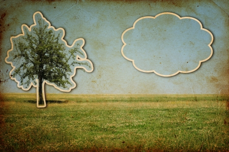 vintage background with tree cut from old photo with place for text photo