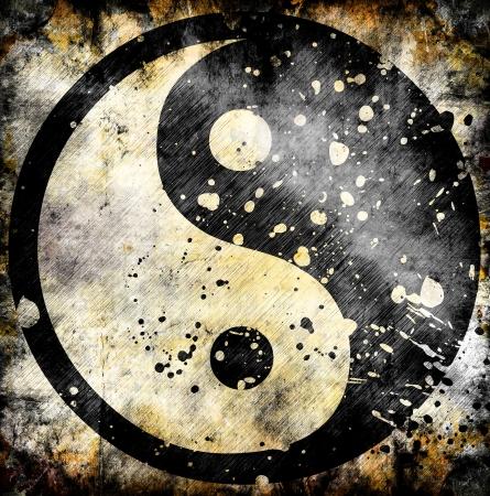 taoisme: Yin yang symbool op grunge achtergrond met vlekken