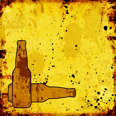 grunge background with beer bottles for menu photo