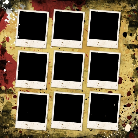 photo frames on grunge background with stains photo