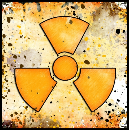 sign of radiation on grunge background with abstract stains photo