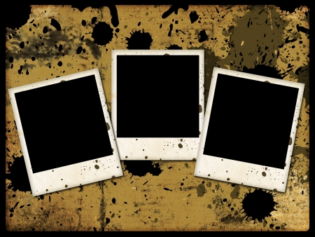 three photo frames on grunge background with abstract stains photo