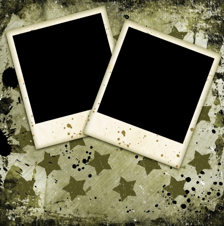 Two photo frames on military grunge background Stock Photo - 14660396