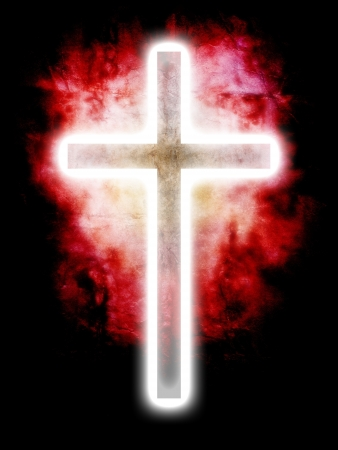 glowing cross on red background photo