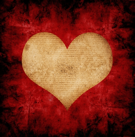 grunge background with heart made from paper Stock Photo - 14669579