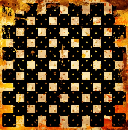grunge chessboard backgound with stains Stock Photo - 14674305