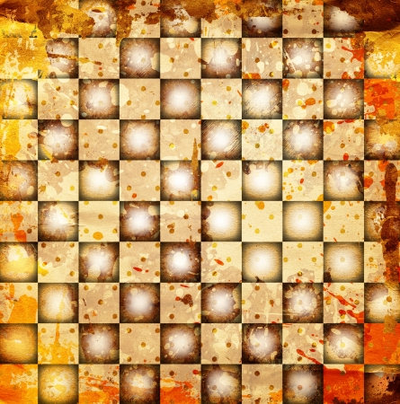 grunge chessboard backgound with stains Stock Photo - 14673685