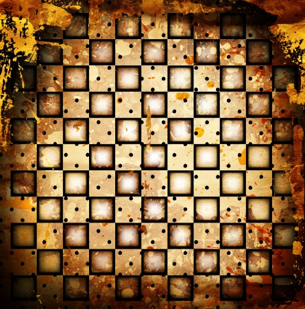 grunge chessboard backgound with stains Stock Photo - 14673151