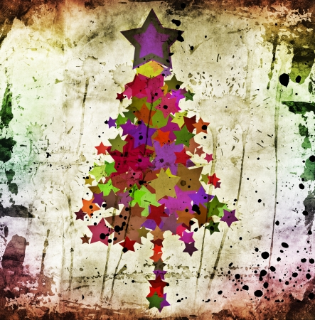 grunge christmas tree photo