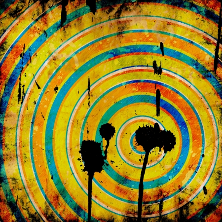 grunge colorful target with shots  photo