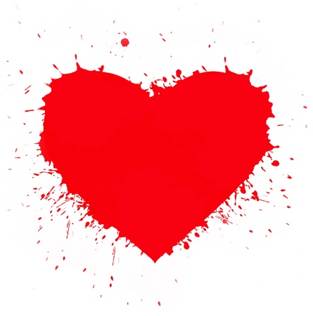 grunge background with abstract heart made from paint stains on white background photo