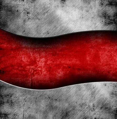 tough: grunge plantilla de metal sobre fondo rojo