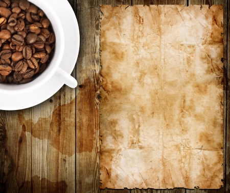 Restaurant menu on the old paper and coffee photo