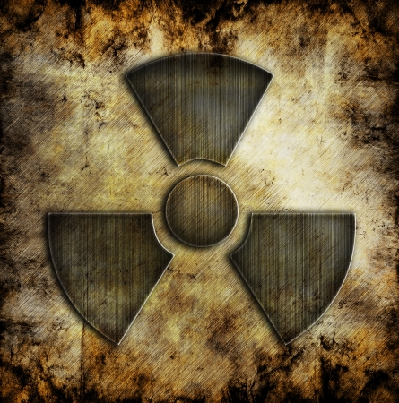 sign of radiation on grunge background photo