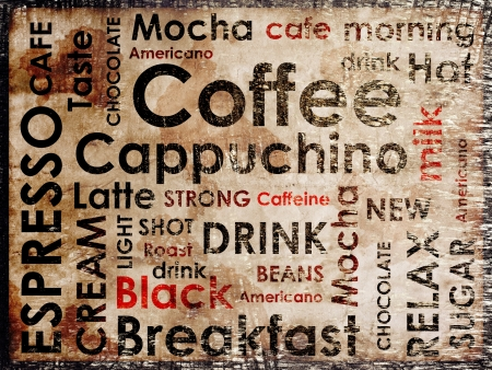 clustered: sorts of coffe on wood background