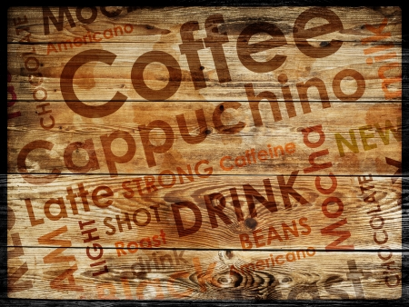 shops: sorts of coffe on wood background