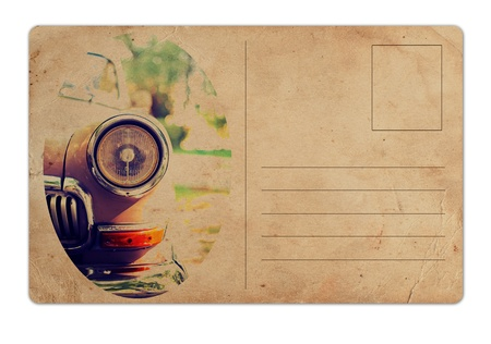old fashioned: vintage postcard with retro car on white background