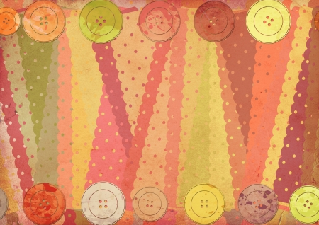 background with fabric patterns and buttons Stock Photo - 14669476