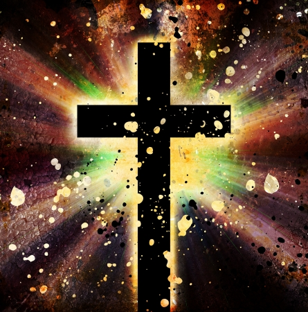 christian background: Black cross on grunge Background Stock Photo