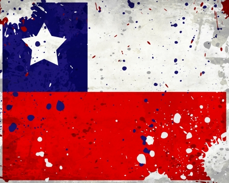 bandera chile: Grunge bandera de Chile con manchas - serie de la bandera
