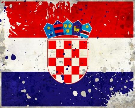 bandiera croazia: Grunge bandiera Croazia con macchie - serie bandiera