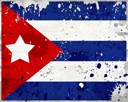 bandera cuba: Grunge bandera de Cuba con manchas - serie de la bandera