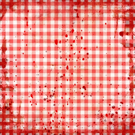 grunge illustration of red picnic tablecloth illustration