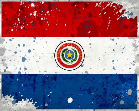Paraguay flag: Grunge bandera de Paraguay con manchas - Serie bandera