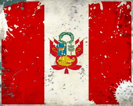 mapa del peru: Grunge bandera de Perú con manchas - serie de la bandera Foto de archivo