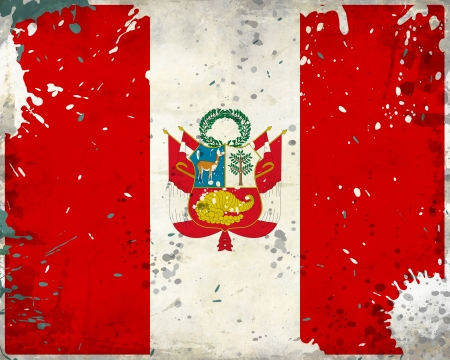 Grunge Peru flag with stains - flag series