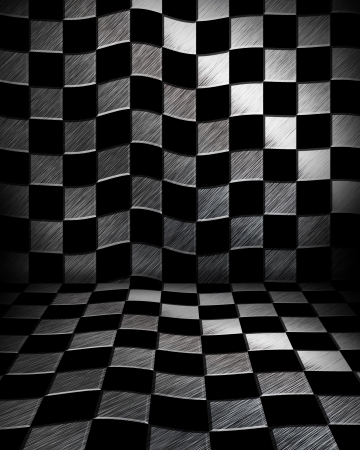 Grungy chessboard room photo