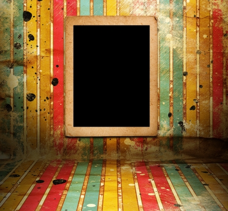 Illsutration of frame in room with striped wallpapers Stock Photo