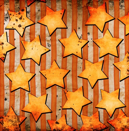 orange stars on grunge background photo