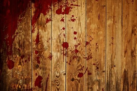 blood dripping: red paint splash on wood plank