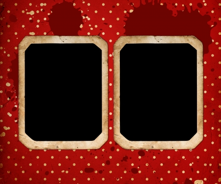vintage frames on red retro Background photo