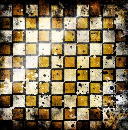vivid grunge chessboard backgound with stains Stock Photo - 14669685