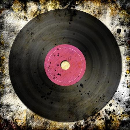 long play: black vinyl record on grunge background