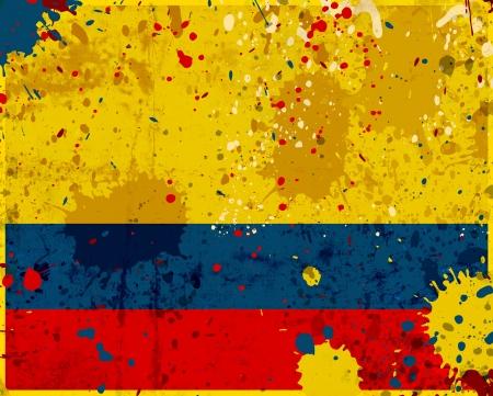 south america: Grunge bandera de Colombia con manchas - serie de la bandera