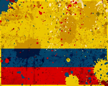 Grunge Colombia flag with stains - flag series Stock Photo