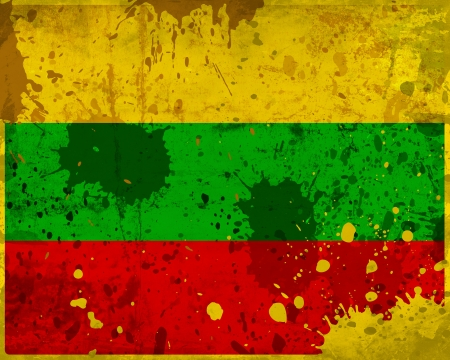 Grunge Lithuania flag with stains - flag series photo
