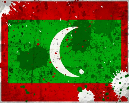 Grunge Maldives flag with stains - flag series photo