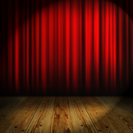 show: red curtain with place for text Stock Photo