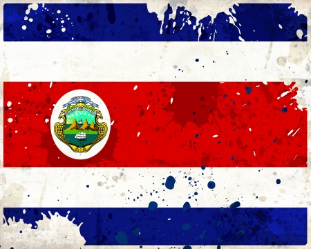 Grunge Costa Rica flag with stains - flag series photo